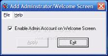 Enable Administrator in Welcome Screen