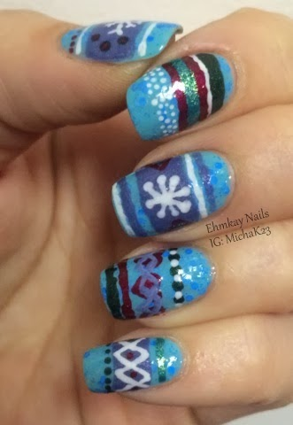 ehmkay nails: Winter Sweater (or Sock) Nail Art