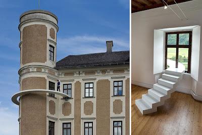 """Лестница на небеса """"из окна в окно"""" у одного из зданий пригорода Цюриха. Дизайнеры Сабина Лэнг и Дениель Бауманн"""