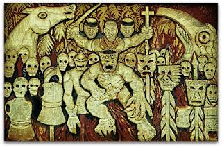 Ilustração em muro do Paseo de La Identidad, em Puerto Iguazú, na Argentina. Xamã com cruz na mão e diversas máscaras da morte.