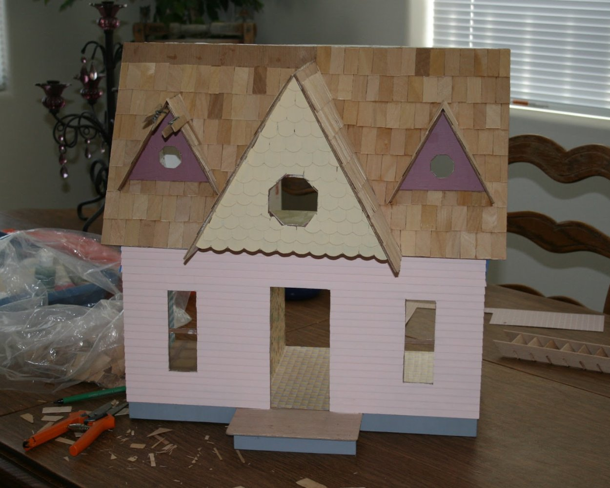 Scrapbook paper dollhouse wallpaper - I Applied Wallpaper And Flooring Prior To Doing The Exterior Siding I Used Scrapbooking Papers Instead Of Pricey And Completely Boring Dollhouse Wallpaper