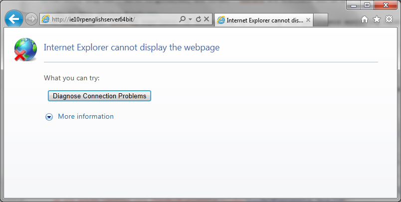 Internet Explorer 10 - broken link.