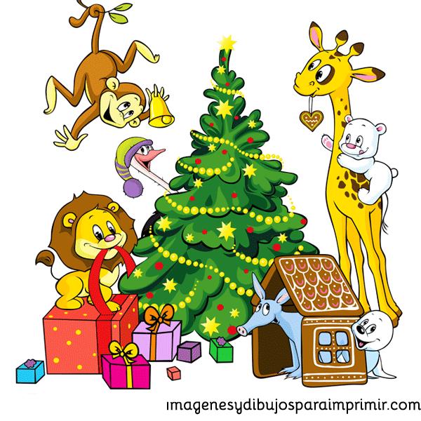 arbol de navidad y animalitos