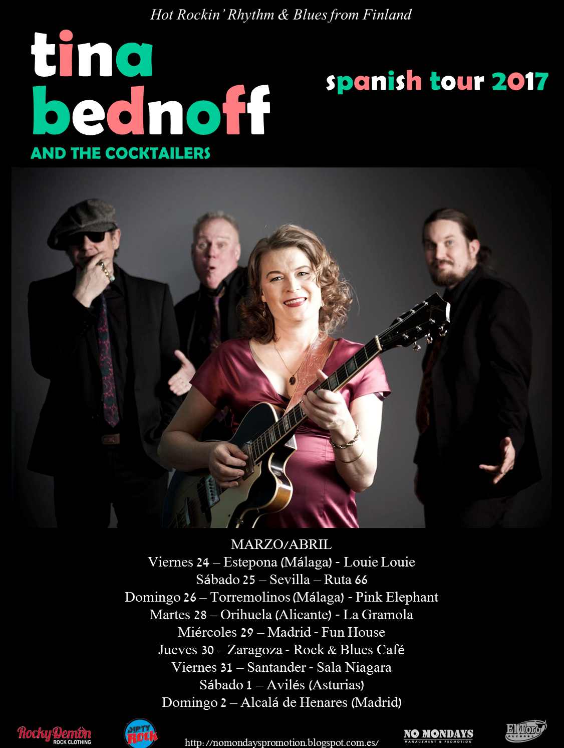 Tina Bednoff & The Cocktailers - Spanish Tour Mar/Ab 2017