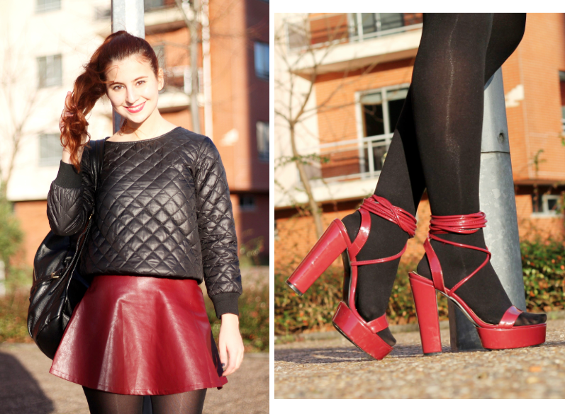 oxblood Nelly shoes and skirt, quilted sweatshirt