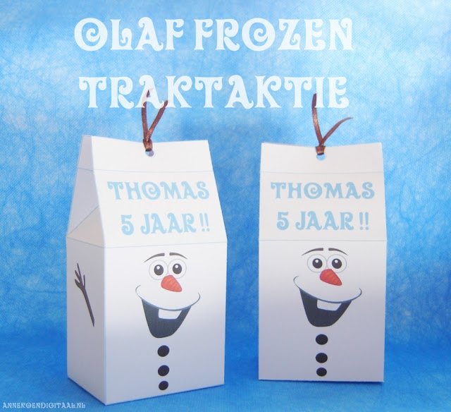 Frozen traktatie zelf knutselen, frozen traktatie maken, olaf traktatie printen, frozen traktatie doosje