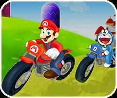 Doremon và Mario đua moto, game dua xe