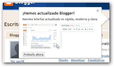 Nueva versión de Blogger.com