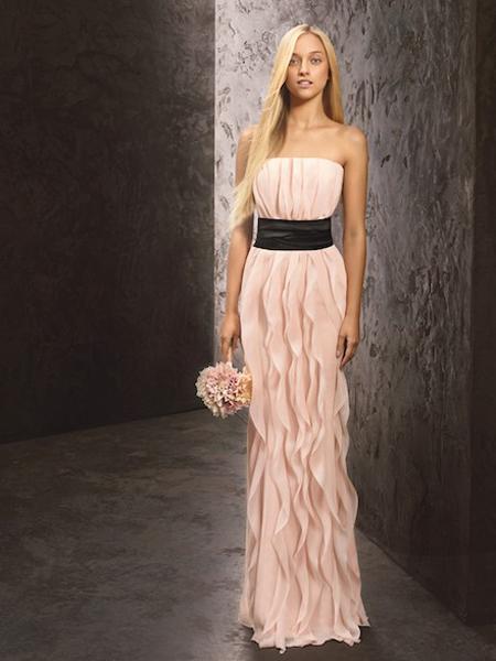 Дълга рокля за шаферки без презрамки на Вера Уанг - колекция пролет 2013 White by Vera Wang