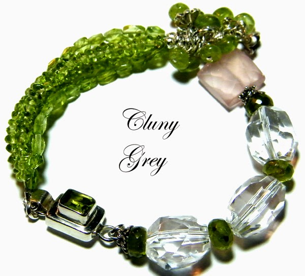 peridot bracelet with quartz crystal