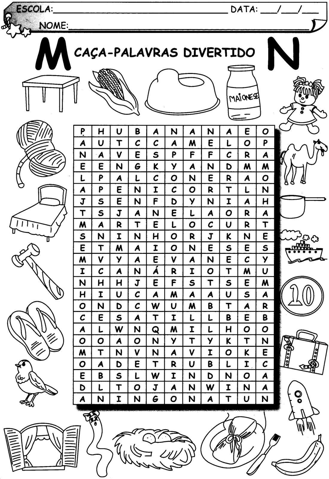 Adivinhe o desenho e procure no caça palavras e pinte