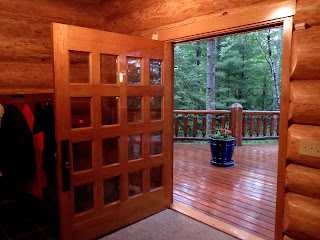 custom, oak, beveled, glass, door, huge, wide, log, home, ely, mn, huisman