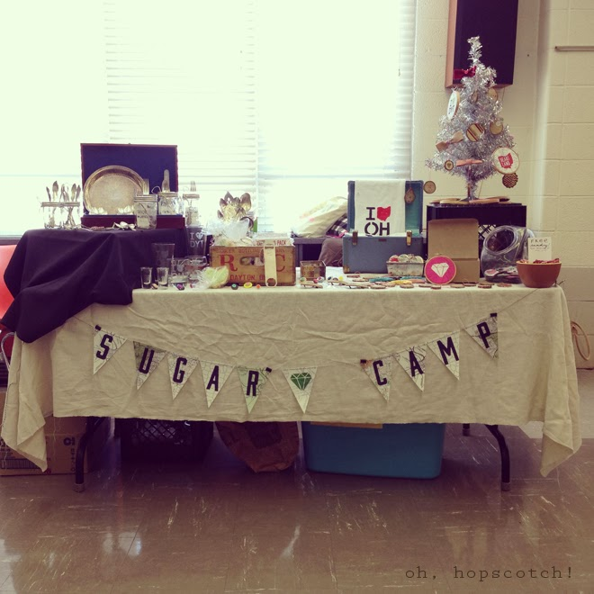 Sugar Camp booth, a homegoods and accessorie seller. Merchandising tips & tricks for a successful craft fair. via Oh, Hopscotch!