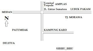 Peta Jalur Medan - Lubuk Pakam dari Jalan Lintas Sumatera dan dari Jalan Kampung Karo - Patumbak