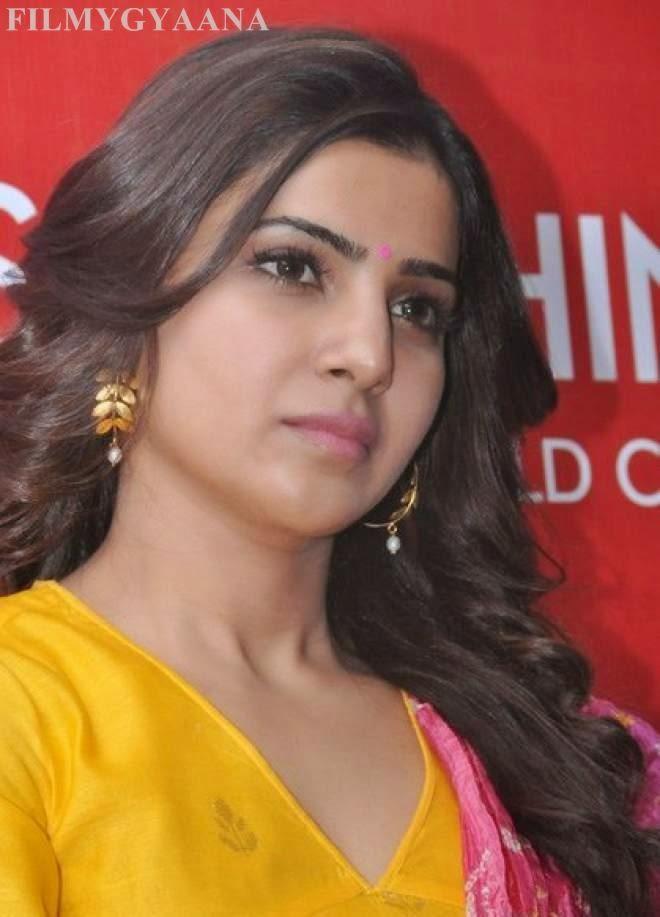 Samantha Latest Stills in Yellow Dress