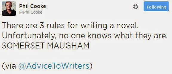 There are 3 rules for writing a novel. Unfortunately, no one knows what they are. SOMERSET MAUGHAM via @AdviceToWriters