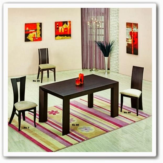 Τραπεζαρία μοντέρνα, ξύλο δρυς, χρώμα βέγκε, με δυο συρτάρια.