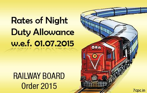 Rates of Night Duty Allowance RAILWAY BOARD