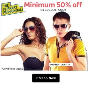 Flipkart : Buy Clothing 90% off to 50% off And  10% off from Rs. 10- BuyToEarn