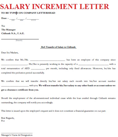 Exceptional Salary Letter  Increment Letter