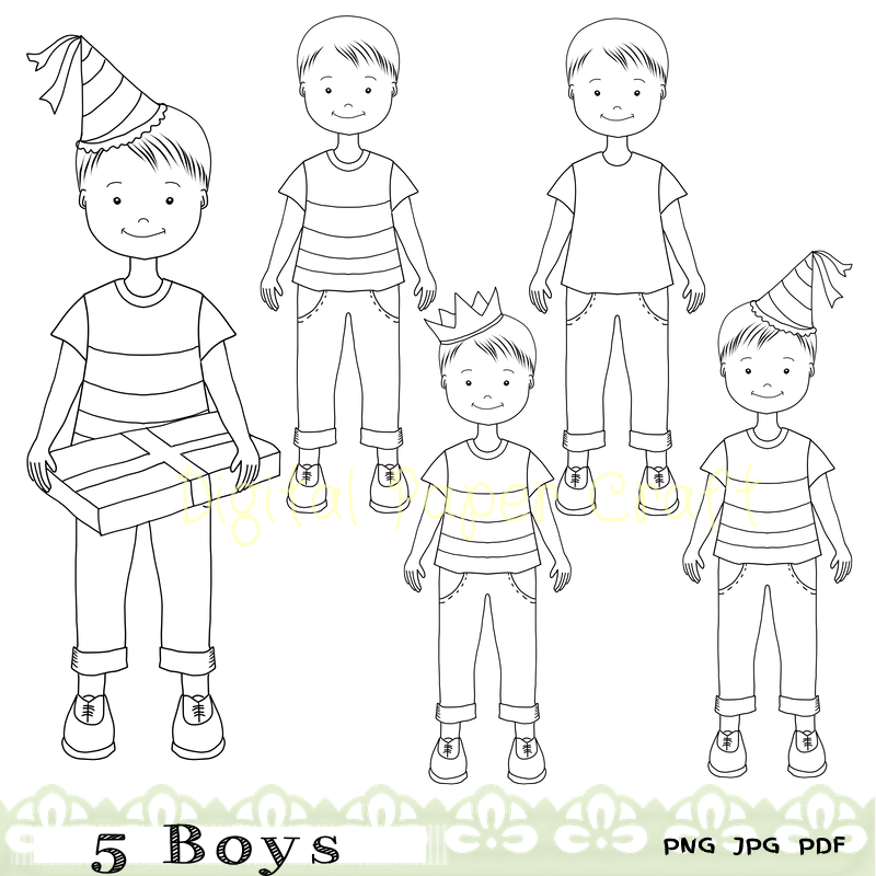 5 Boys Digital stamps