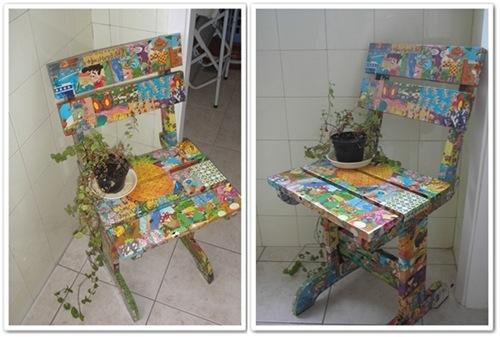 decorar cozinha velha:Olha que doce essa cadeira de balanço da vovó, antes também em