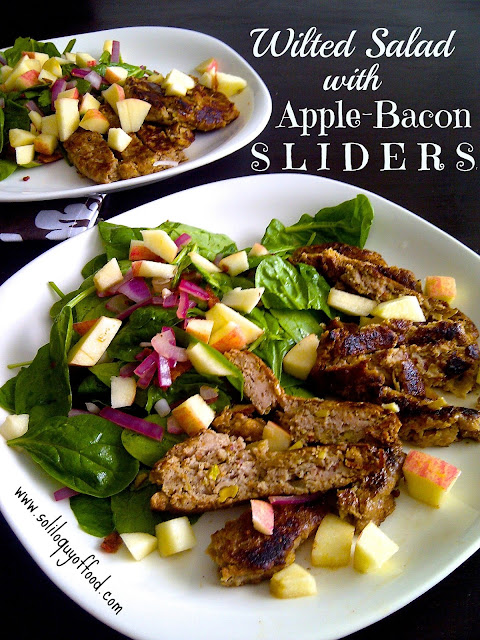 Wilted Spinach Salad with Apple Bacon Chicken Sliders via www.soliloquyoffood.com  #eggfree #nutfree