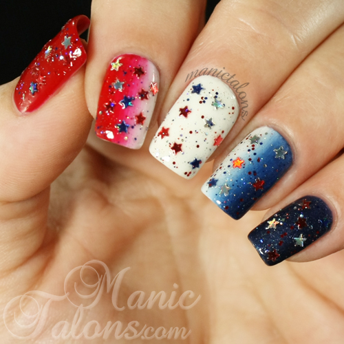 Red white and blue gradient manicure