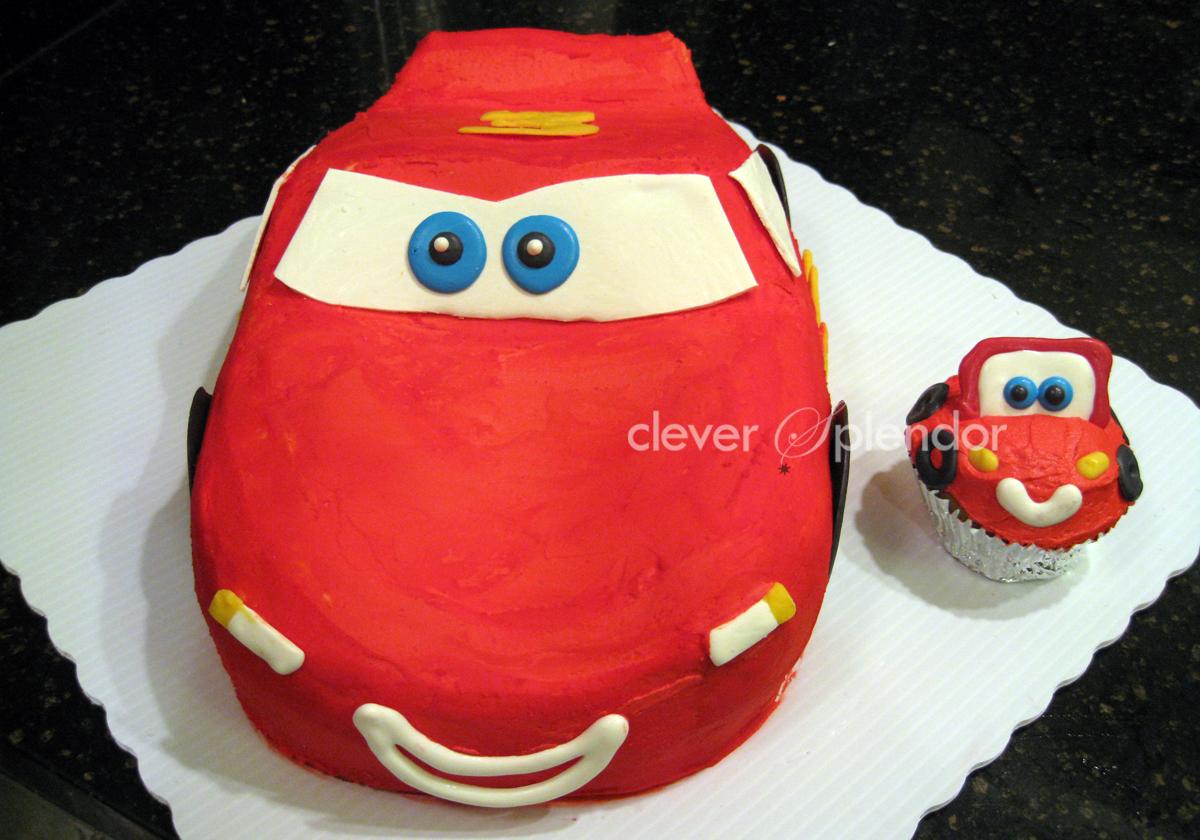 clever splendor Lightning McQueenCARS cake