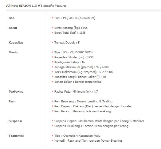 Spesifikasi All New SIRION 1.3 AT