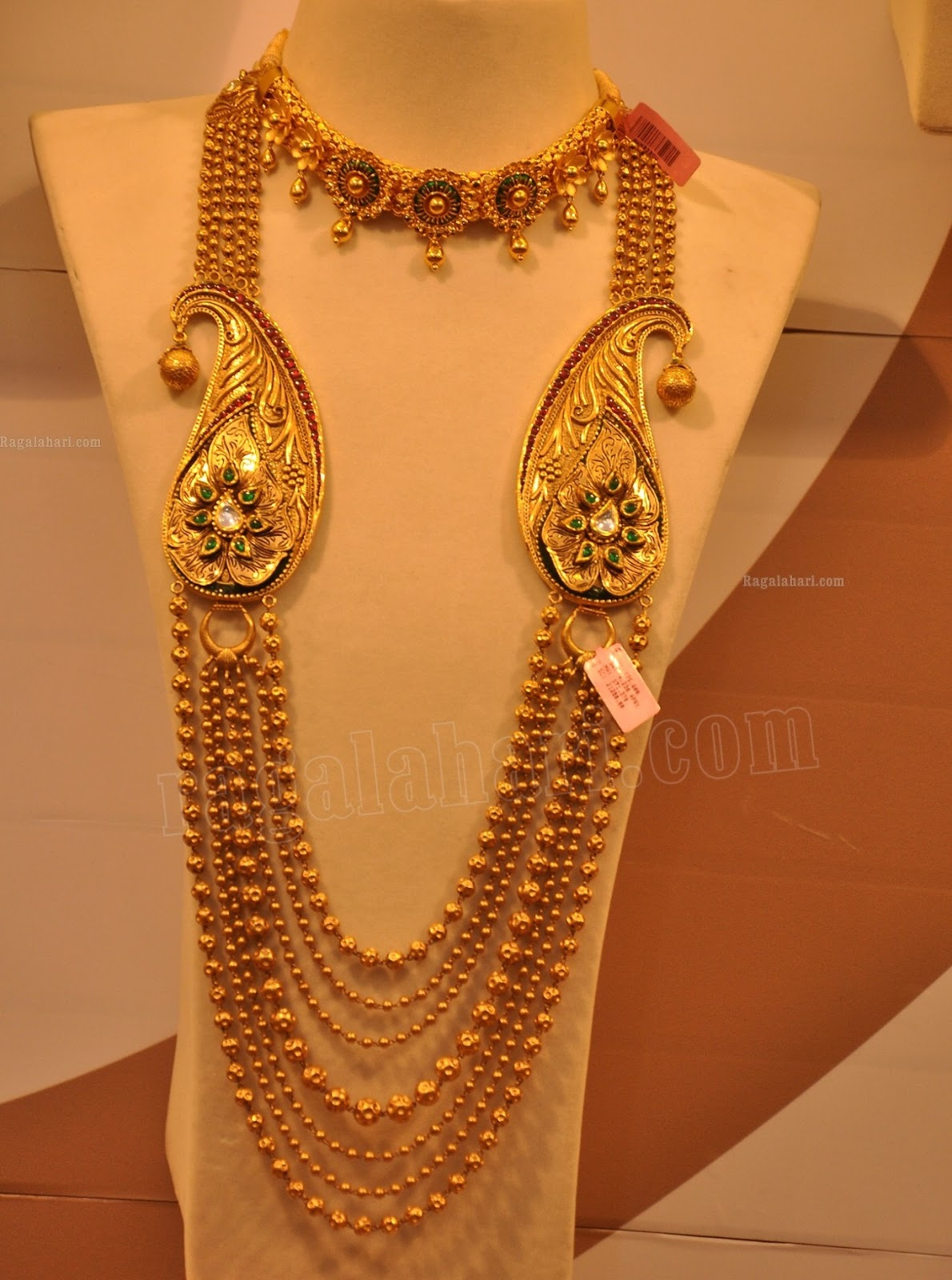 Gold long necklace design with price - Multistring Beaded Long Chain