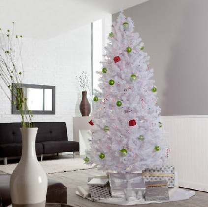 If you have a sweet spot for a certain color, chances are its present all  as home accents. Decorating your faux tree can't get simpler.