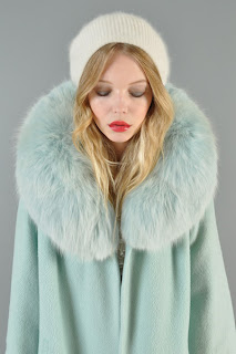 Vintage 1950's ice blue wool swing coat with fox fur collar
