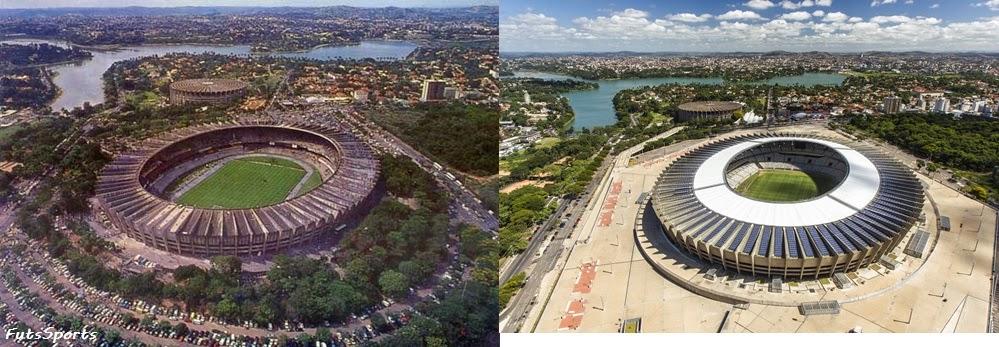 Antigo e novo Estádio do Mineirão