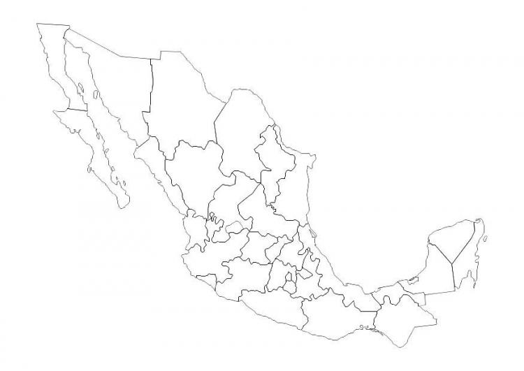 Mapa De Mexico Para Colorear