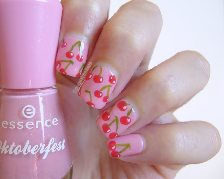 nail art de cerezas cherry nails