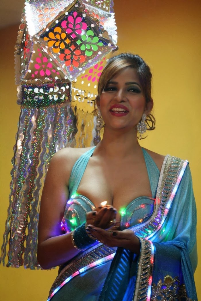 Bold Tanisha singh hot photoshoot gallery for diwali special in firecrackers dress