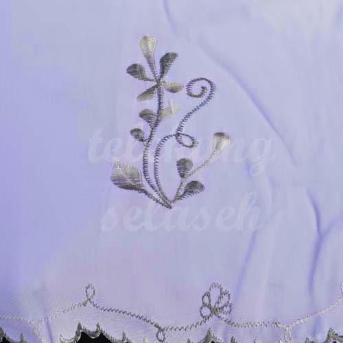 Telekung Vietnam kelabu putih sulam bunga timbul
