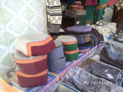 Woolen hand made himachal caps in Gangotri, Uttarakhand