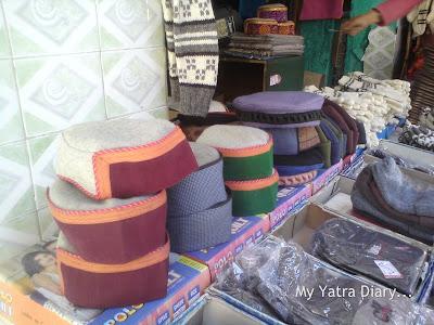 Woolen hand made himachal caps in Gangotri, Uttarakhand
