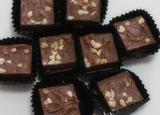Chocolate Square Candy Garnished with Peanuts