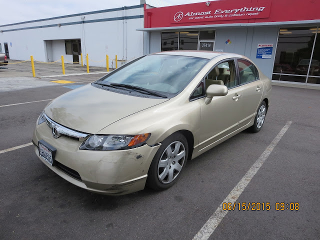 2008 Honda Civic with bumper, fender & headlamp damage