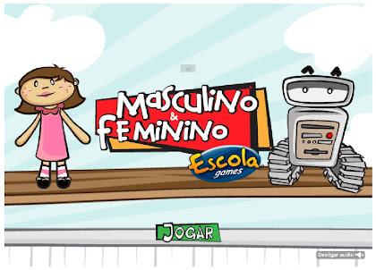 Jogo Educativo de português sobre o gênero das palavras: masculino e feminino.