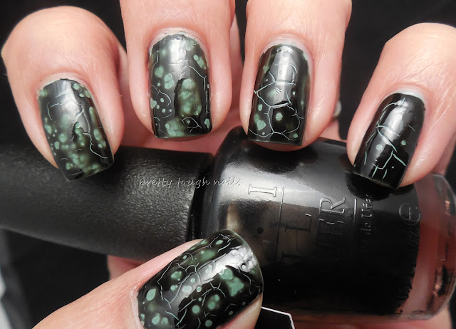 OPI Black Spotted over OPI Thanks A Windmillion