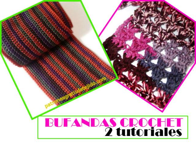Cómo Tejer Bufandas Lindas y Fáciles / 2 Tutoriales Crochet ...