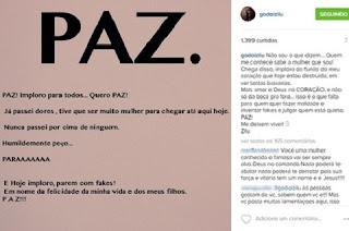"""Zilu Godoi publicou um desabafo em seu Instagram, na noite desta quarta-feira (19). Sem explicar exatamente o motivo da angústia, a apresentadora deu a entender que está infeliz com os """"fakes"""" que aparecem na rede social para julgá-la."""