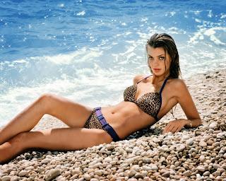 Catrin Claeson in Sexy Leopard Print Bikini