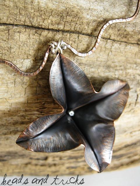 Collana in rame e argento, foldforming