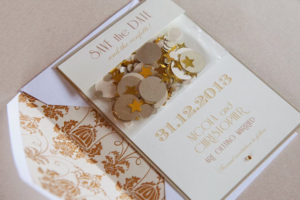 Golden glamour wedding save the date for a styled shoot by Weddings by Sophie