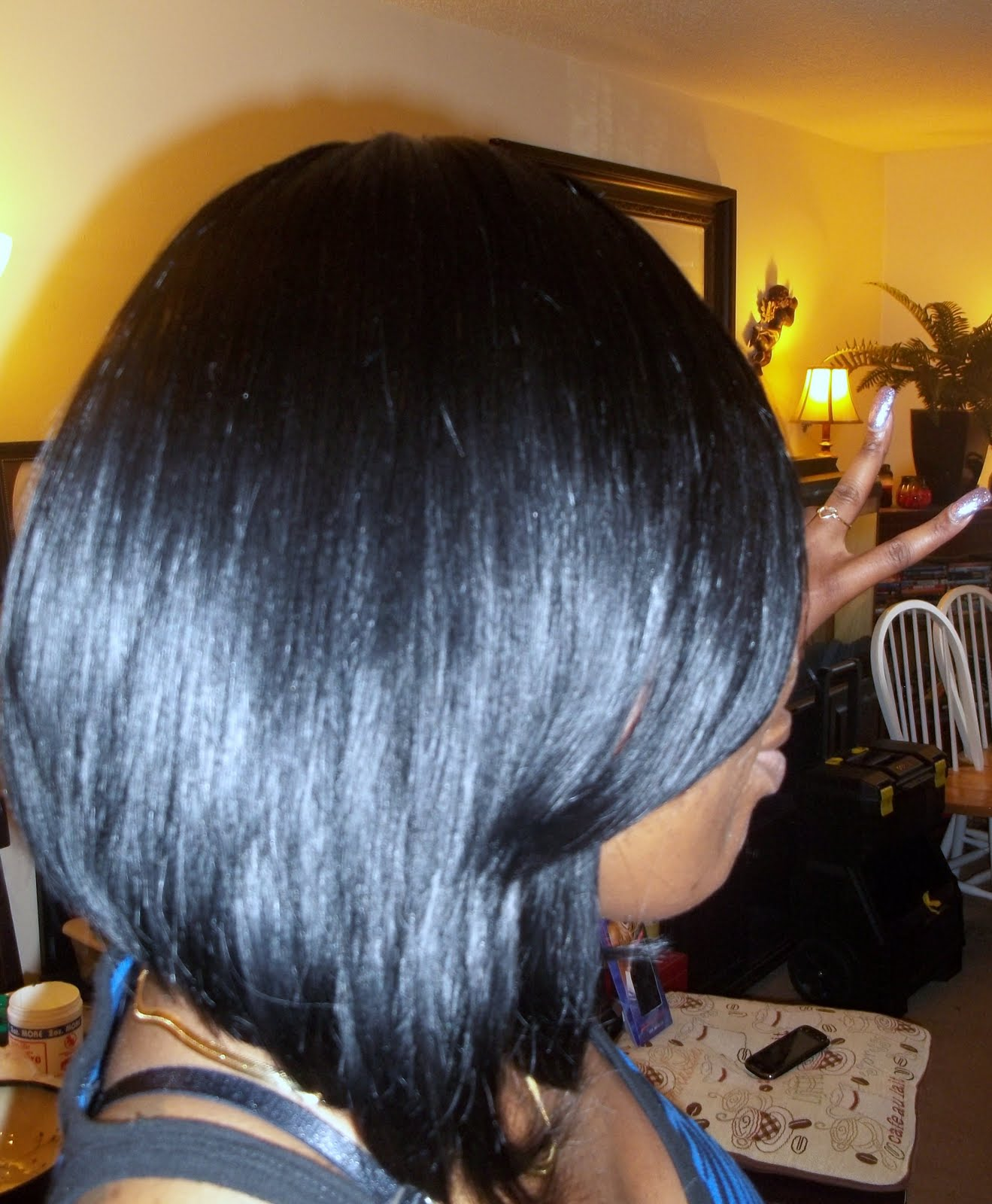 Full Head Sew In Weave Cut into a Bob